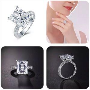 Emerald Cut Diamond Ring with Pave Diamonds